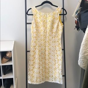 Size 2 Yellow Dress with gorgeous flower overlay